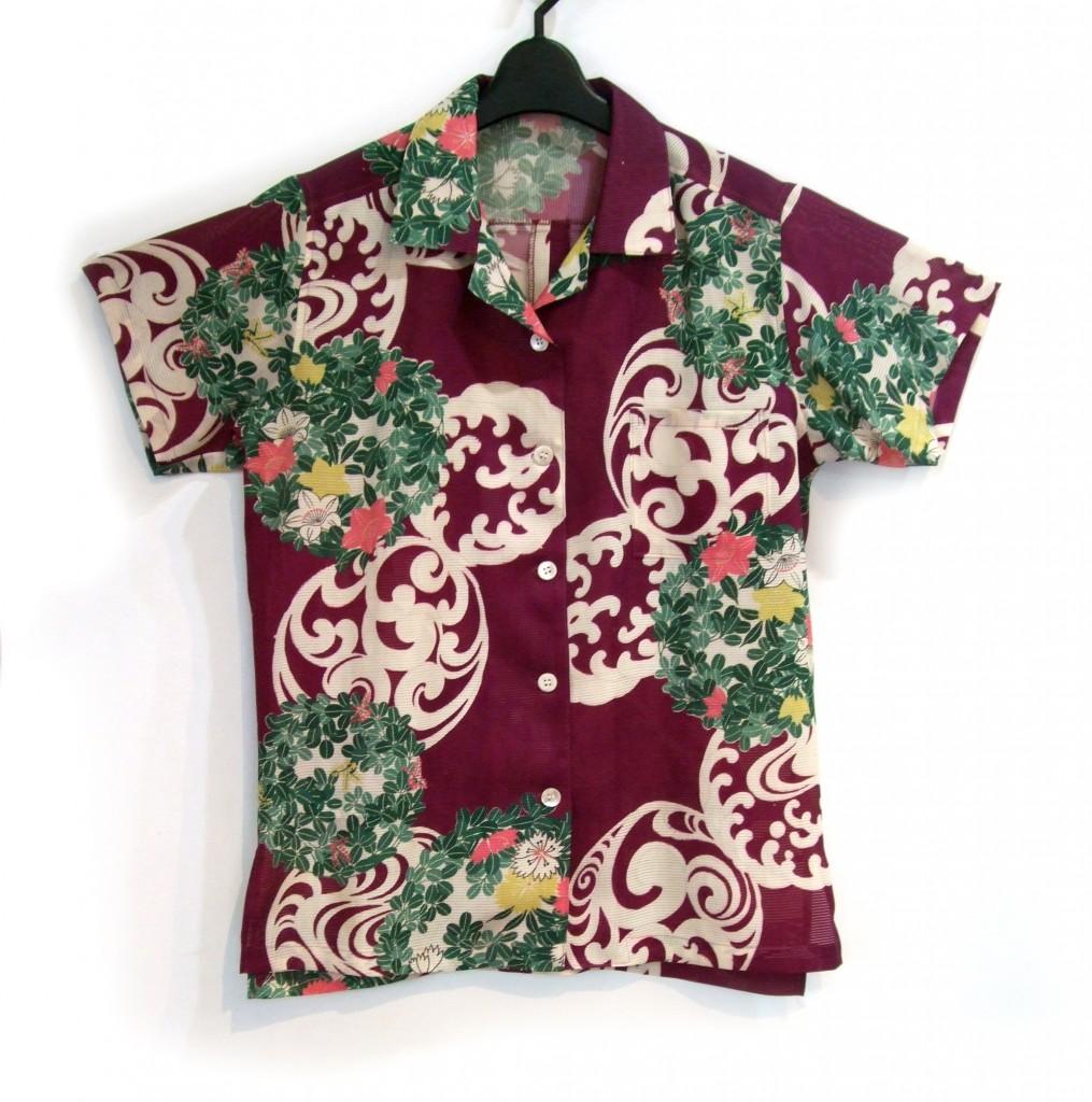 アンティーク 着物 アロハ 萩や桔梗の丸紋 絽